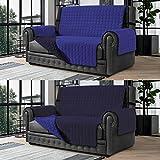 Banzaii Cubre Sofá – Funda Sofá Acolchada Reversible – 2 Plazas Azul y Azul Claro para Asiento de 115 a 140 cm