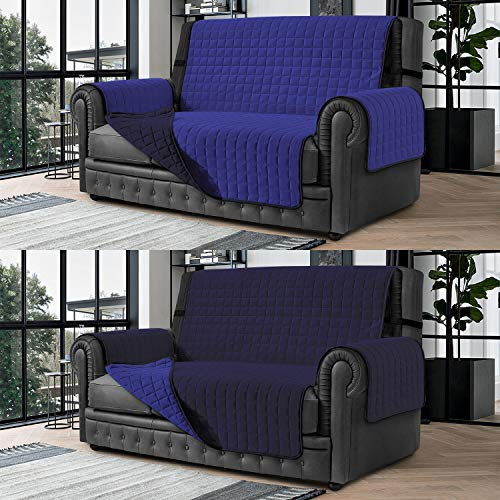Banzaii Cubre Sofá – Funda Sofá Acolchada Reversible – 3 Plazas Azul y Azul Claro para Asiento de 170 a 195 cm