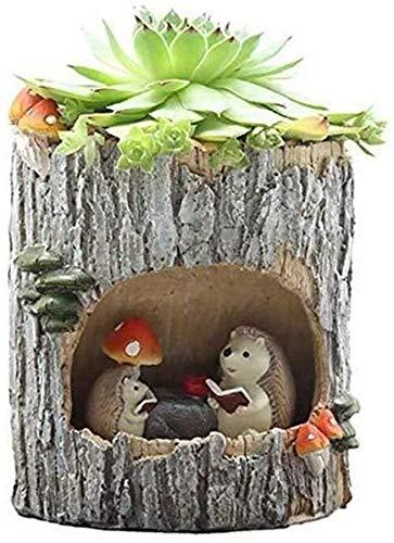 Macetas de jardín Lindo creativo del agujero del árbol Tiesto, dibujos animados rural suculento de pequeño crisol de flor del tocón de árbol Tiesto agujero del árbol Historia de la personalidad en mac