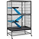 YAHEETECH Rolling 2-Story Ferret Cage Small Animal Cage for Chinchilla Adult Rats Metal Critter Nation Cage w/ 2 Removable Ramps/Platforms Black