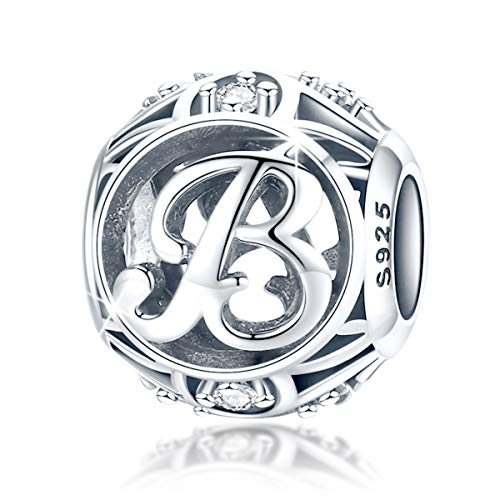 FOREVER QUEEN Women's Letter Alphabet Charm 925 Sterling Silver Initial A-Z Alphabet Charm Bead for Pandora Bracelet Gift for Women Girls With Jewelry Box (B)