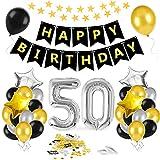 50 Oro Negro Plata Globos Cumpleaños Decoracione,50 Años de Antigüedad Fiesta de Cumpleaños Decoraciones, 50 Globos de Papel Plata para Hombres y Mujeres Adultos Oro Negro Plata Decoración de Fiesta