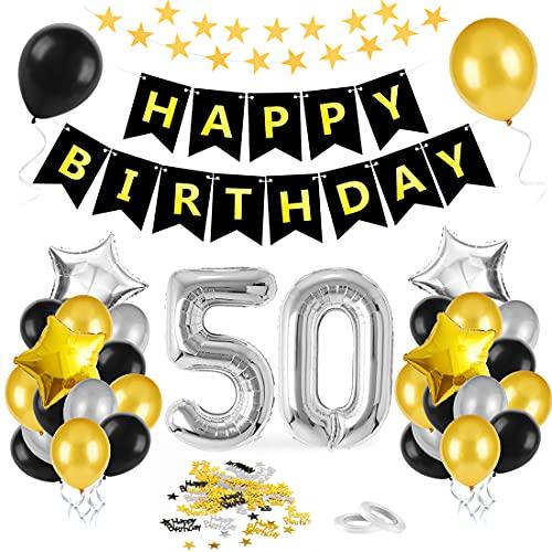 Bluelves 50 Anni Palloncini Compleanno, Palloncini Numeri 50 Nero Oro Argento, Kit Decorazioni 50 Compleanno, Addobbi Compleanno Adulti Festa Decorazioni, Nero Oro Striscione Foil Palloncini