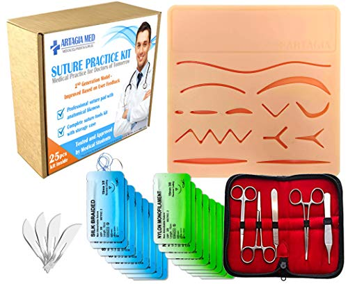 Complete Suture Practice Kit for Suture Training, Including Large Silicone Suture Pad with pre-Cut Wounds and Suture Tool kit. Latest Generation Model. (Demonstration and Education Use Only)