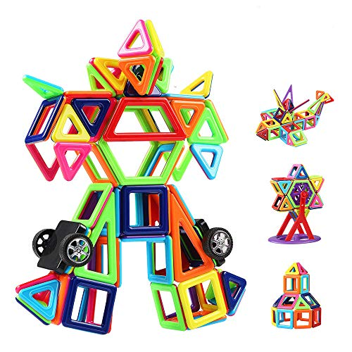 Innoo Tech Magnetic Building Blocks | 108 Pcs Magnet Blocks Set | Kid Magnetic Toys Construction Stacking Kits | Building Tiles Blocks for Creativity Educational | Instruction Booklet Included