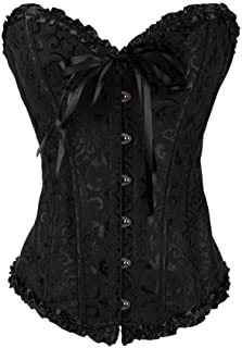 Womens Sexy Vintage Gothic Party Floral Lace Up Slim Corset Bustier Tube Top