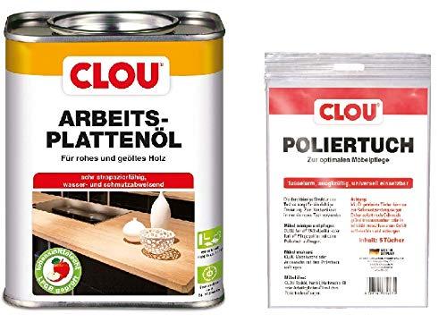Clou Arbeitsplatten-Öl für rohes und geöltes Holz, wasserabweisende und abriebfeste Öl-Wachs-Kombination, 750ml mit Poliertuch