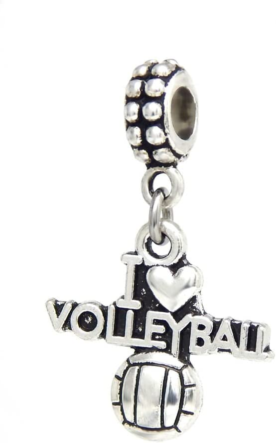 J&M Dangle I Love Volleyball Charm Bead for Charms Bracelets