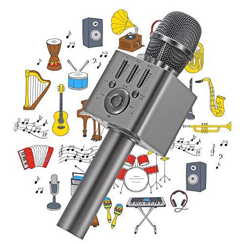 Ankuka Karaoke Wireless Microphone for Kids, Portable 4 in 1 Bluetooth Karaoke Machine Speaker Toys, Gifts for Christmas Birthday (Grey)