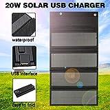 HMLIGHT Panneau Solaire Pliable Chargeur 20W USB Panneaux solaires Pliant Portable étanche Panneau Solaire Chargeur Banque d'alimentation pour téléphone Chargeur de Batterie + 2X Carabiner,Noir