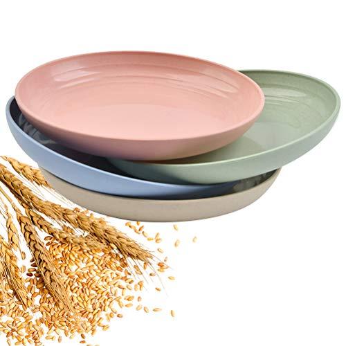 4 Stück Teller aus Weizenfaser Speiseteller, 25cm Weizenstroh Teller, Dinner Plates Mikrowellen- und spülmaschinengeeignet