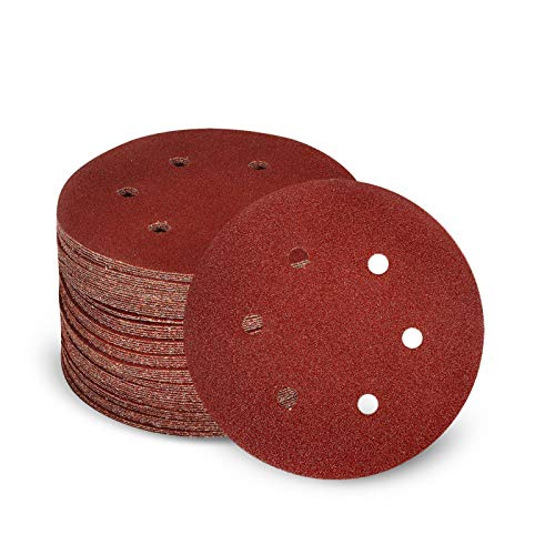 50 PCS Sanding Discs, DOUEE 6 Inch 6 Holes Hook and Loop Adhesive Sandpaper 40 Grit Sand Paper for Drill Grinder Rotary Tools
