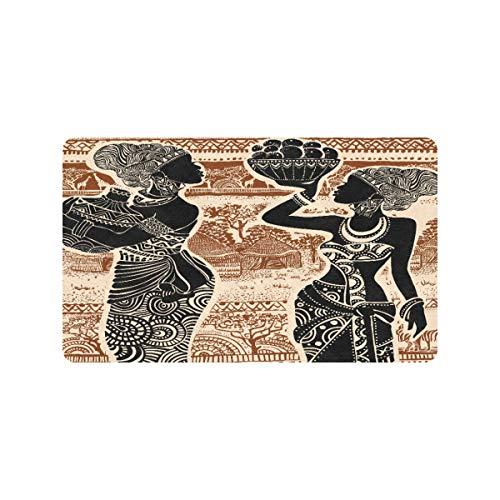 Hermosa chica africana en alfombras africanas de 30 x 18 pulgadas para cocina, antideslizante, puerta trasera, entrada, felpudo, exterior, lavable, perfil, claustro, interior, alfombrillas para la en