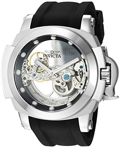Invicta Men's Coalition Forces Stainless Steel Automatic-self-Wind Watch with Silicone Strap, Black, 25 (Model: 24707)