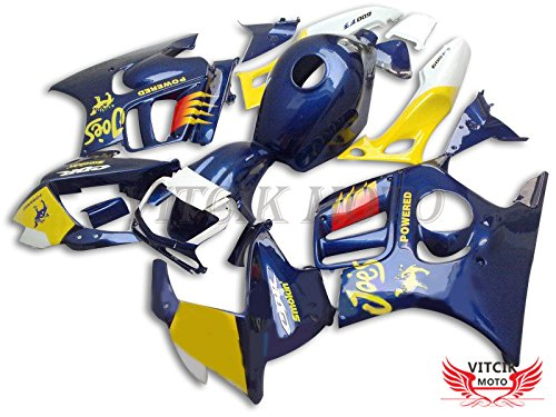 VITCIK (Fairing Kits Fit for Honda CBR600F3 CBR600F 1997 1998 CBR 600 F3 97 98) Plastic ABS Injection Mold Complete Motorcycle Body Aftermarket Bodywork Frame (Blue & Yellow) A033