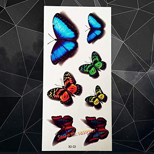 Nuevo 3D Etiqueta Engomada del Tatuaje Temporal Azul Mariposa Patrón A3D-23 Falso Desechable Impermeable Pasta de Tatuaje Rojo Amarillo Mariposa Tatoo