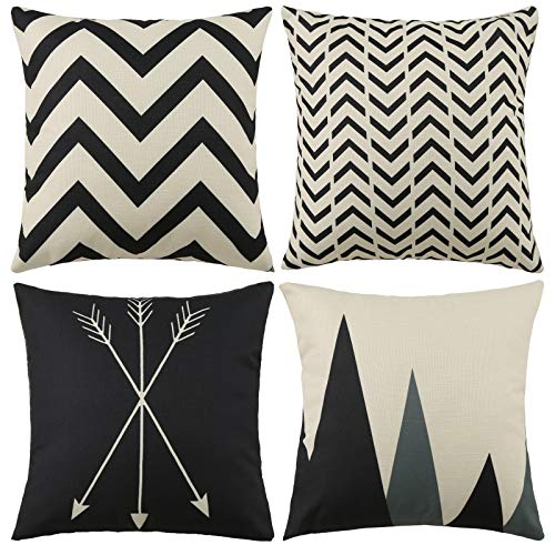 "Tosewever Set of 4 Decorative Geometric 18 x 18 Inches Throw Pillow Covers - Modern Pattern Linen Square Pillow Cushion Case for Sofa Couch Bed Home Outdoor Car (18"" x 18"", Beige/Black)"