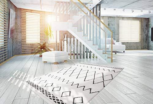 Berber Teppich Moderner Teppich Ethno Style Hochflor Teppich Weich Schwarz
