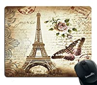 Smooffly Mouse Pad Vintage Paris Eiffel Tower Pink Rose Floral and Butterfly Stamp Custom Design, 9.5 X 7.9 Inch (240mmX200mmX3mm) [並行輸入品]