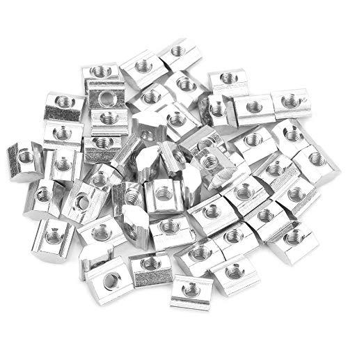 Akozon Hammerkopfmutter 50 stücke Kohlenstoffstahl Schiebe T-nut Mutter für 20 Serie Aluminiumprofil Zubehör M3 * 10 * 5 EU typ
