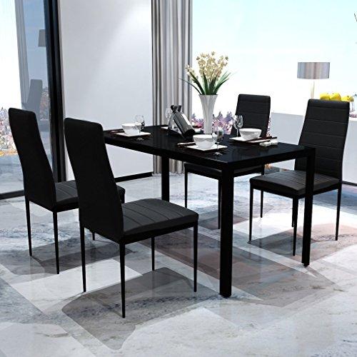 Festnight Set Tavolo da Pranzo/Tavolo Cucina con sedie 5 Pezzi Nero