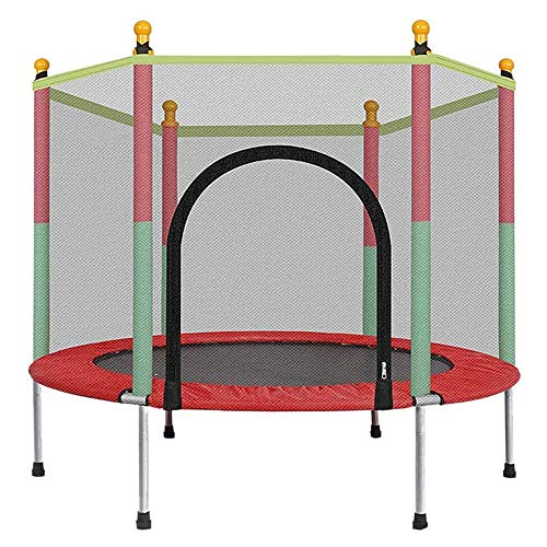 ZLMI Junior Trampoline with Safety Enclosure Net, Indoor And Outdoor Children Entertainment Trampoline, Made of Anti-Rust Steel, with Thick Foam Sleeve, Weatherproof