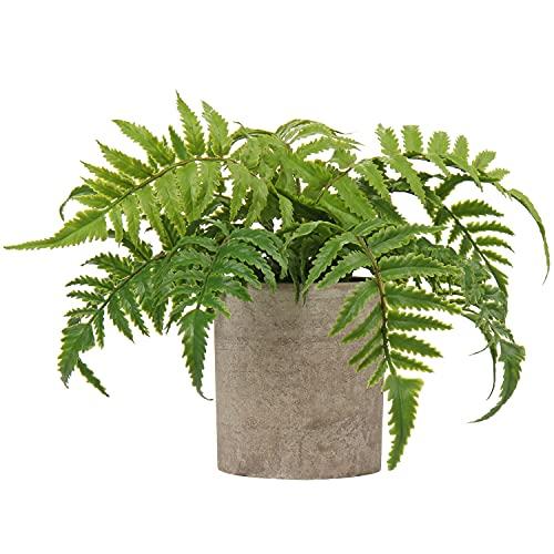 Plantas artificiales de helecho de Boston en maceta de imitación plantas decorativas pequeñas plantas verdes para interior de helecho artificial para decoración rústica de la cocina de la mesa