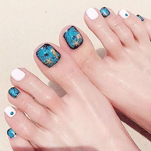 Sethexy Ocean False Toe Nails Starfish Sea horse Shell Summer Beach Full Cover 24Pcs Fake Toe Nails for Women and Girls