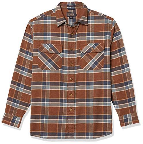 Pendleton Herren Long Sleeve Super Soft Burnside Flannel Shirt Hemd mit Button-Down-Kragen, Braun/Tan/Blau kariert, Klein