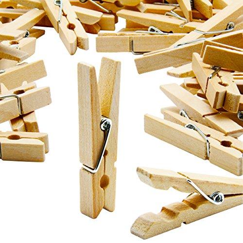 LeTOMA – 100 St. Deko Holzklammern 4,8 cm – Wäscheklammern aus Natur-Holz ideal zum Basteln, Beschriften und Verzieren – Farbe Naturbraun