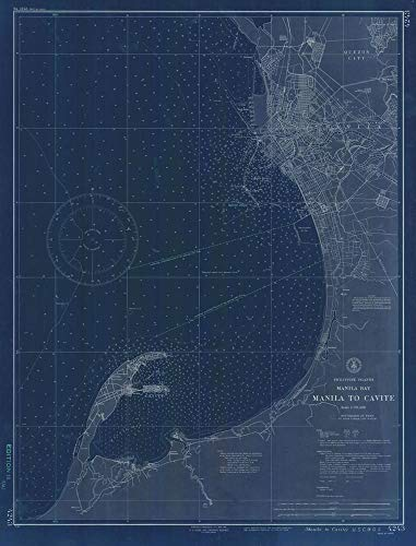 Vintography Blueprint Style 8 x 12 Nautical Map of Manila Bay Manila to Cavite 0 : C&GS 09a