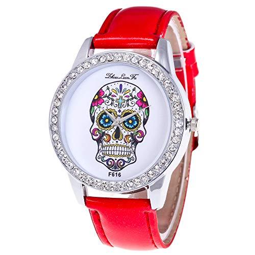 Skang Damen Uhren Quartz, Totenkopf Muster Für Frau Lady Teenager, Diamant Strass Armbanduhr, Für Jede Gelegenheit(one Size,Rot)
