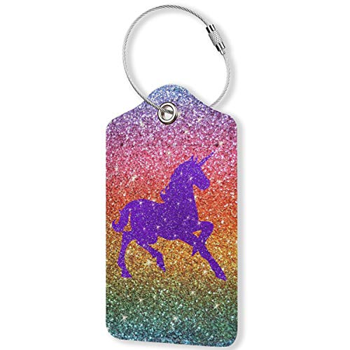 Rainbow Glitter Purple Sparkles Unicorn PU Leather Luggage Tags,Waterproof Name ID Labels with Stainless Steel Loop for Travel Baggage Bag Suitcase(1pcs)