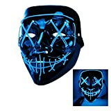 Halloween mask,Halloween party carnival role-playing ghost face mask, 3 Modes Glow Slow Flash, Medium Flash, Fast Flash,Carnival Masquerade Light Induction Role-Playing Mask (ice blue)