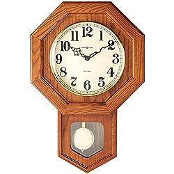 Howard Miller Katherine Wall Clock 620-112 – Oak Yorkshire, Brass Pendulum with Quartz Dual-Chime Movement