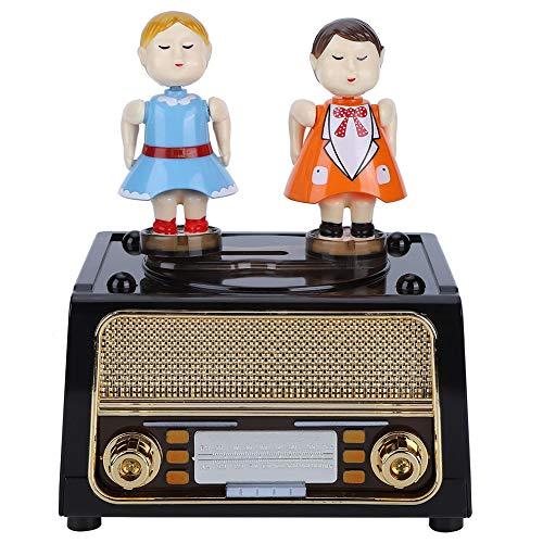 Retro Radio geformte Spieluhr Smart Castle Toy Tragbare Kuss Paar Puppe Musikschmuck Aufbewahrungsbox Geburtstagsgeschenk für Kinder