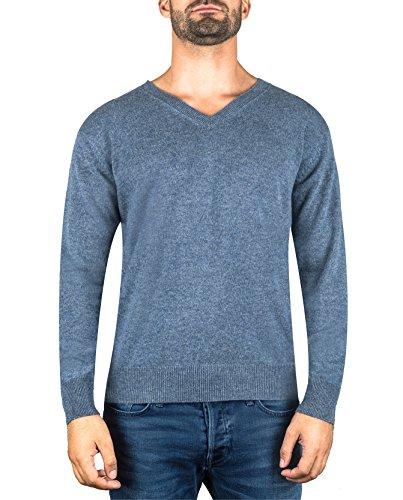 CASH-MERE.CH 100% Kaschmir Herren Pullover | Sweater V-Ausschnitt 2-fädig (Blau/Jeans, L)