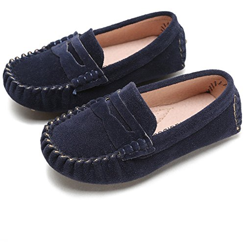 Battle Men Little Kids Penny Loafers Flat Heel Slip On Toddler's Shoes for Boys & Girls Causal Comfortable (Color : Blue, Size : 12.5 M US Little Kid)