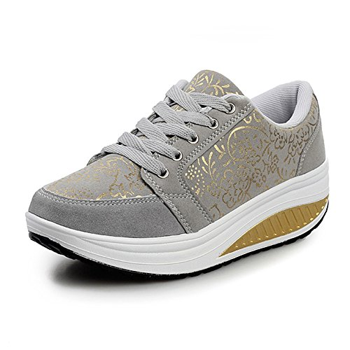 WYSBAOSHU Damen Plattform Beiläufig Schuhe Laufender Sneaker(41 EU/Label 42 CN,1-Grau)