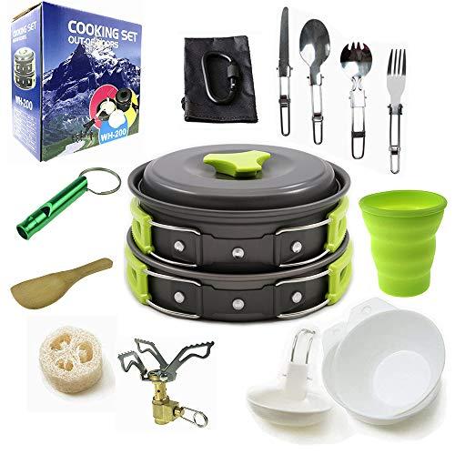Camping Cookware Mess Kit Backpacking Gear & Hiking Outdoors Bug Out Bag Cooking Equipment 18 Piece Cookset | Lightweight, Compact, Durable Pot Pan Bowls - Free Folding Spork, Nylon Bag (Green)