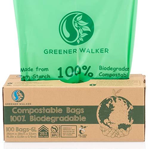 Greener Walker 25% Extra Thick Compost 6L/8L/10L/30L Caddy Bin Liners-100 Bags Biodegradable Kitchen Food Waste Bags(6L)