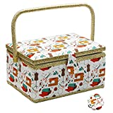 Flrhsjx Medium Sewing Basket with Accessories Sewing Storage Box with Supplies DIY Sewing Kits for Adults/Kids (Orange)