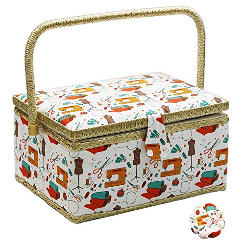 Medium Sewing Basket with Accessories Sewing Storage Box with Supplies DIY Sewing Kits for Adults/Kids (orange)