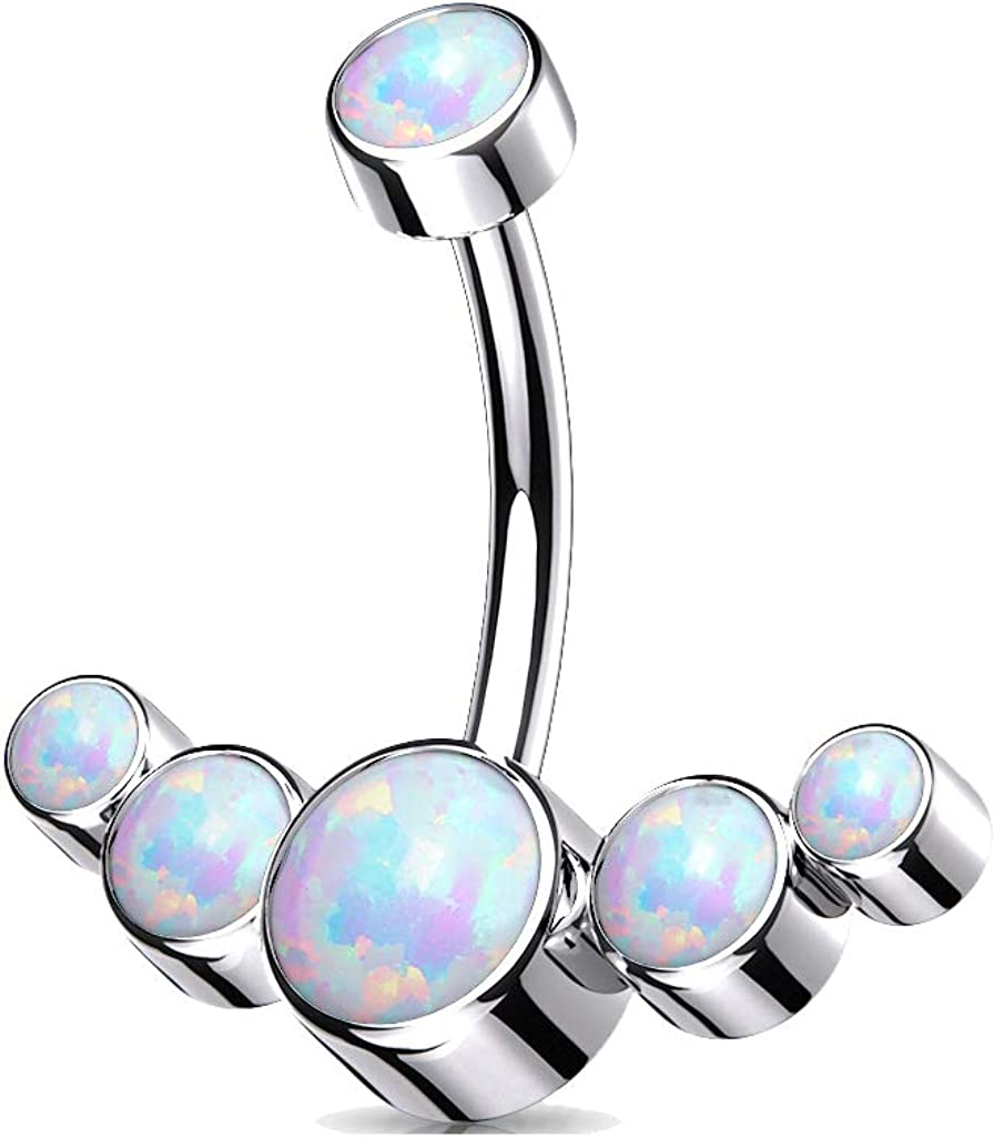 Dynamique Implant Grade Titanium Internally Threaded Opal Bezel Set Top with 5-Opal Set Curve Belly Button Ring (Sold Per Piece)