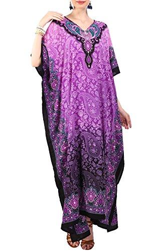 Miss Lavish London Frauen Damen Kaftan Tunika Kimono freie Größe Lange Maxi Party Kleid für Loungewear Urlaub Nachtwäsche Strand jeden Tag Kleider #101 [Lila EU 46-50]