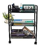 HAITIAN 3 Etagen Küchenwagen mit abschließbaren Rädern, Gitterkorb für Küche Büro Bad Schwarz