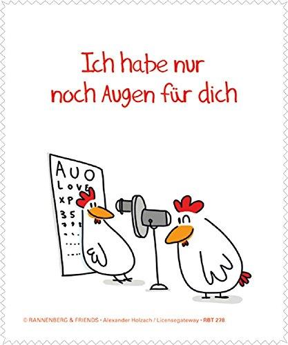 Rannenberg & Friends Reinigungstuch Brillenputztuch Hühner: Augen für Dich, Microfasertuch Reinigungstücher Brillenputztücher Tücher Hahn Huhn