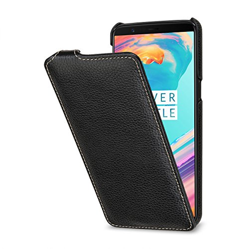 StilGut UltraSlim Hülle Hülle Leder-Tasche kompatibel mit OnePlus 5T, Schwarz