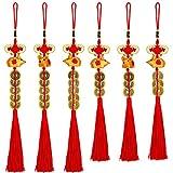 Boao 6 Stück Chinesisches Neujahrsfest Rattenjahr Charm Dekorationen 2020 Chinesische Feng Shui Münzen Chinesischer Knoten Glücksmünzen Hängende Anhänger für Neujahr Haus Auto...