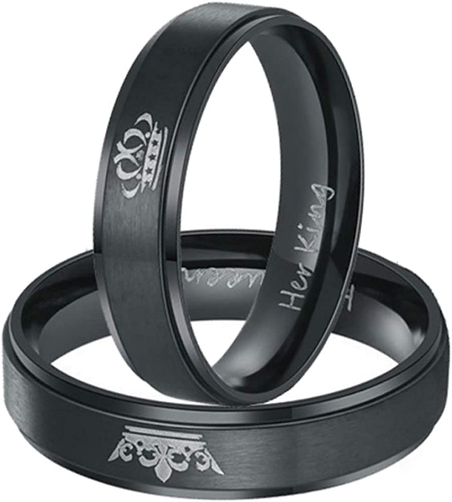XAHH Her King His Queen New Max 63% OFF Orleans Mall Black Steel Sets Matching Crown Titanium